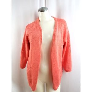 Coldwater Creek L 14 Coral Open Cardigan